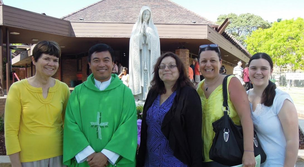 Our Lady of Fatima parishioners, pictured with Fr Casey on Walk or Ride to Worship day, 2013