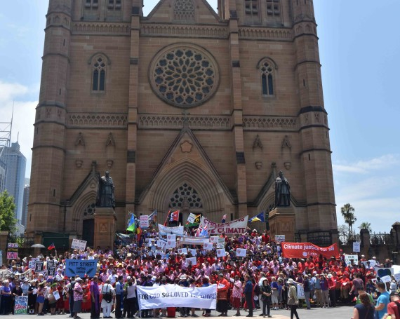 Christians gathered at St Mary's Cathedral before the Sydney Climate March on Sunday.